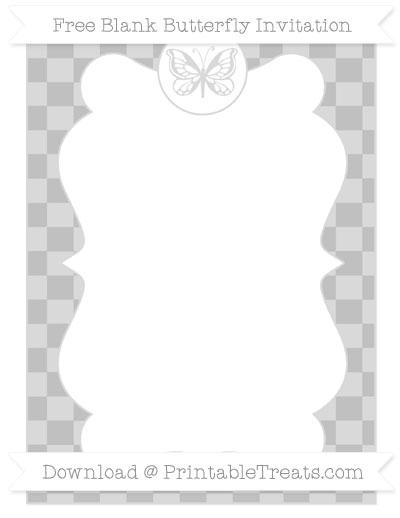 Free Silver Checker Pattern Blank Butterfly Invitation