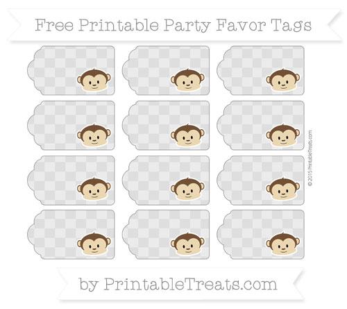 Free Silver Checker Pattern Boy Monkey Party Favor Tags