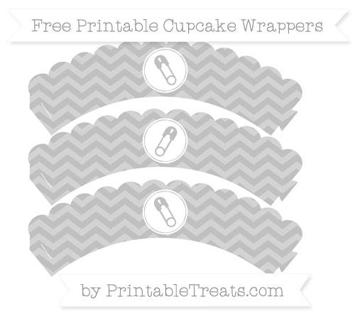 Free Silver Chevron Diaper Pin Scalloped Cupcake Wrappers
