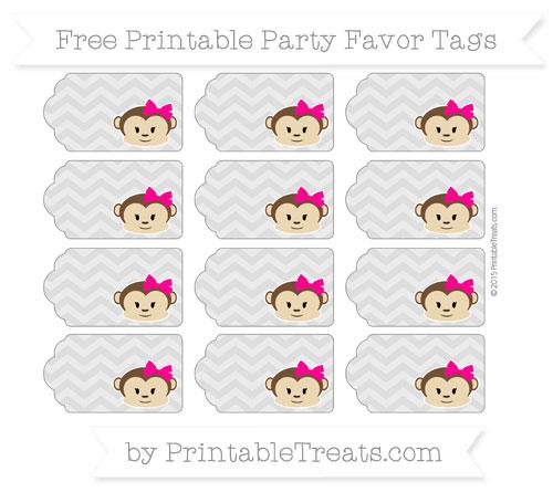 Free Silver Chevron Girl Monkey Party Favor Tags