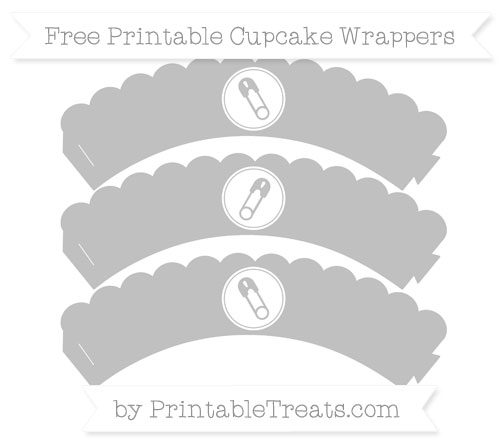 Free Silver Diaper Pin Scalloped Cupcake Wrappers