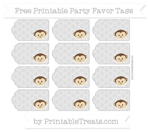 Free Silver Fish Scale Pattern Boy Monkey Party Favor Tags