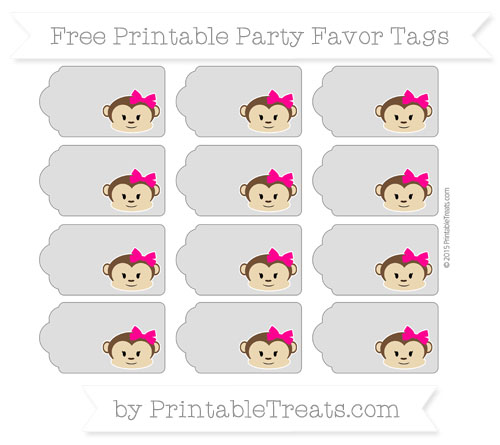 Free Silver Girl Monkey Party Favor Tags
