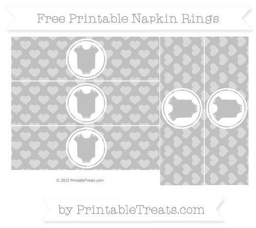 Free Silver Heart Pattern Baby Onesie Napkin Rings