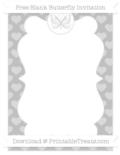 Free Silver Heart Pattern Blank Butterfly Invitation