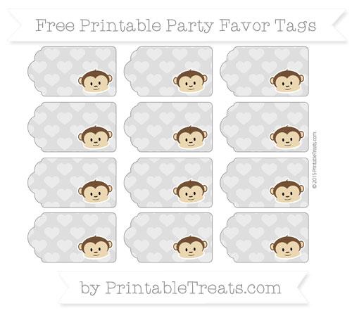 Free Silver Heart Pattern Boy Monkey Party Favor Tags