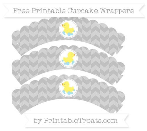 Free Silver Herringbone Pattern Baby Duck Scalloped Cupcake Wrappers