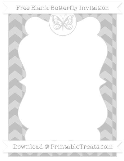 Free Silver Herringbone Pattern Blank Butterfly Invitation