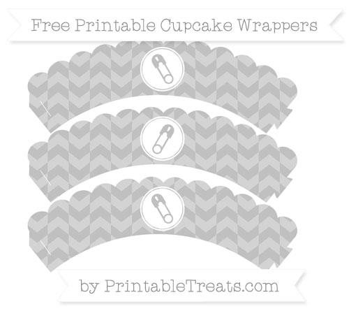Free Silver Herringbone Pattern Diaper Pin Scalloped Cupcake Wrappers