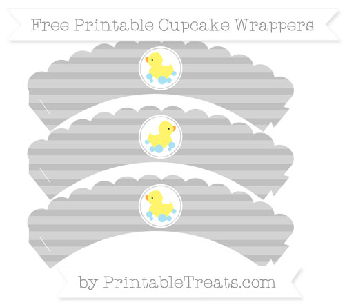 Free Silver Horizontal Striped Baby Duck Scalloped Cupcake Wrappers