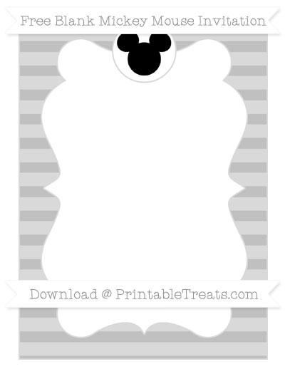 Free Silver Horizontal Striped Blank Mickey Mouse Invitation