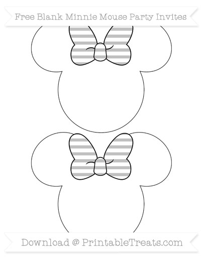 Free Silver Horizontal Striped Blank Minnie Mouse Party Invites