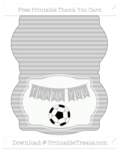 Free Silver Horizontal Striped Soccer Thank You Card