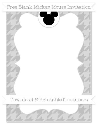 Free Silver Houndstooth Pattern Blank Mickey Mouse Invitation