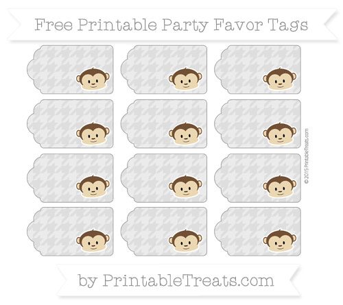 Free Silver Houndstooth Pattern Boy Monkey Party Favor Tags