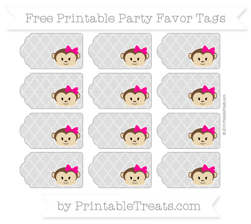 Free Silver Moroccan Tile Girl Monkey Party Favor Tags
