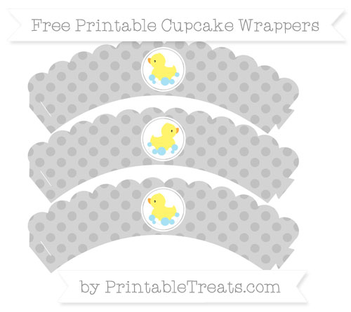 Free Silver Polka Dot Baby Duck Scalloped Cupcake Wrappers