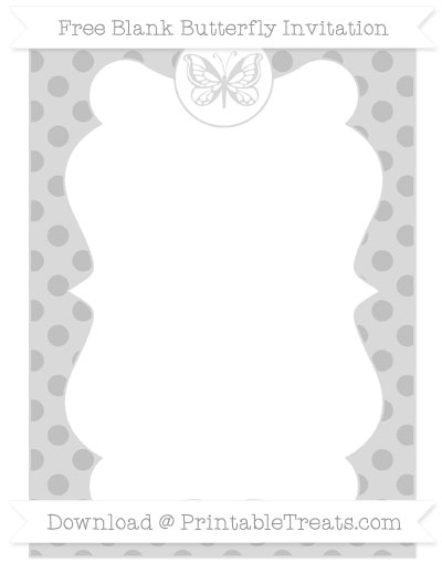 Free Silver Polka Dot Blank Butterfly Invitation