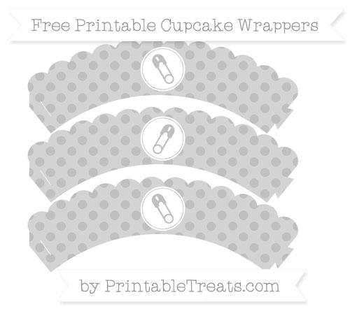 Free Silver Polka Dot Diaper Pin Scalloped Cupcake Wrappers