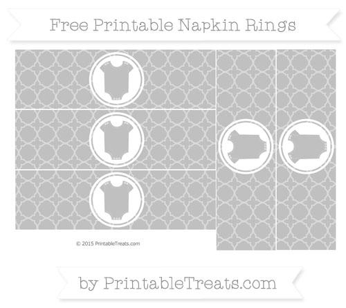 Free Silver Quatrefoil Pattern Baby Onesie Napkin Rings