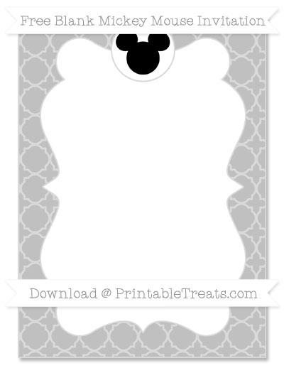 Free Silver Quatrefoil Pattern Blank Mickey Mouse Invitation