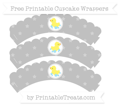 Free Silver Star Pattern Baby Duck Scalloped Cupcake Wrappers