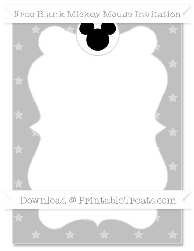 Free Silver Star Pattern Blank Mickey Mouse Invitation