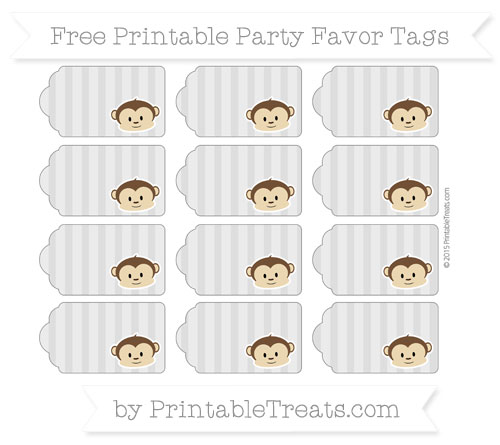 Free Silver Striped Boy Monkey Party Favor Tags
