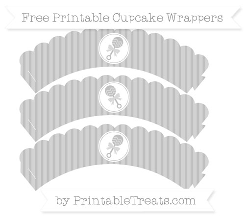 Free Silver Thin Striped Pattern Baby Rattle Scalloped Cupcake Wrappers