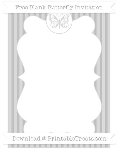 Free Silver Thin Striped Pattern Blank Butterfly Invitation