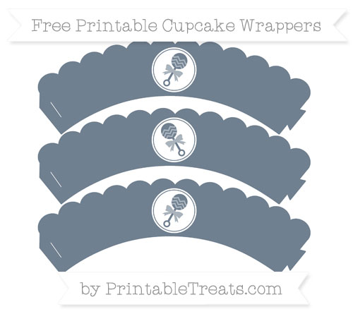 Free Slate Grey Baby Rattle Scalloped Cupcake Wrappers