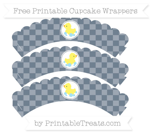 Free Slate Grey Checker Pattern Baby Duck Scalloped Cupcake Wrappers