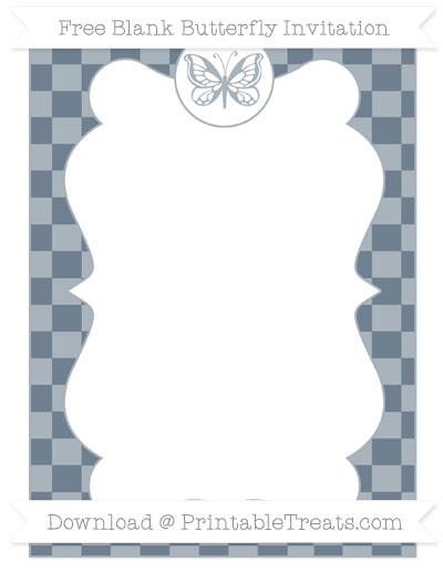 Free Slate Grey Checker Pattern Blank Butterfly Invitation