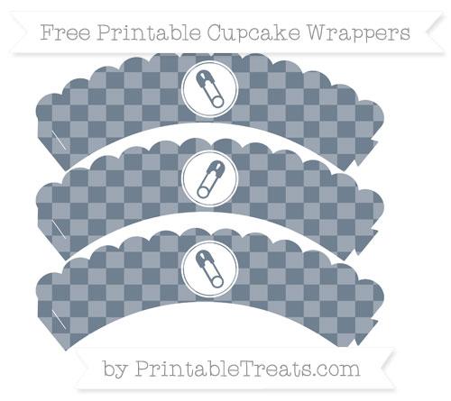 Free Slate Grey Checker Pattern Diaper Pin Scalloped Cupcake Wrappers