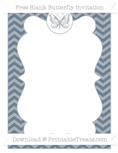 Free Slate Grey Chevron Blank Butterfly Invitation
