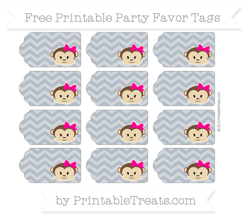 Free Slate Grey Chevron Girl Monkey Party Favor Tags