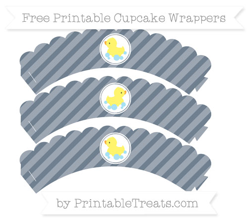 Free Slate Grey Diagonal Striped Baby Duck Scalloped Cupcake Wrappers