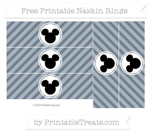 Free Slate Grey Diagonal Striped Mickey Mouse Napkin Rings