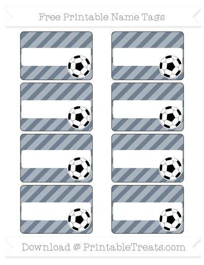 Free Slate Grey Diagonal Striped Soccer Name Tags