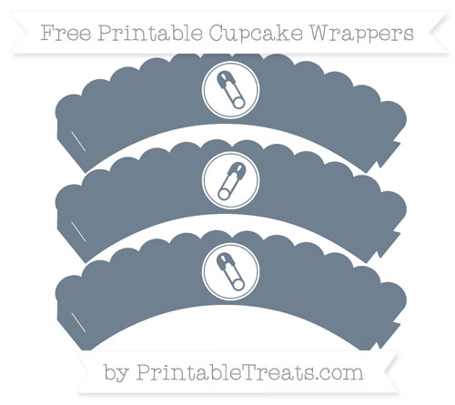 Free Slate Grey Diaper Pin Scalloped Cupcake Wrappers
