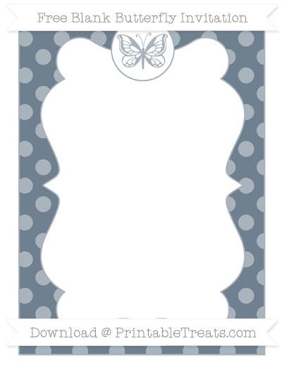 Free Slate Grey Dotted Pattern Blank Butterfly Invitation