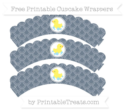 Free Slate Grey Fish Scale Pattern Baby Duck Scalloped Cupcake Wrappers