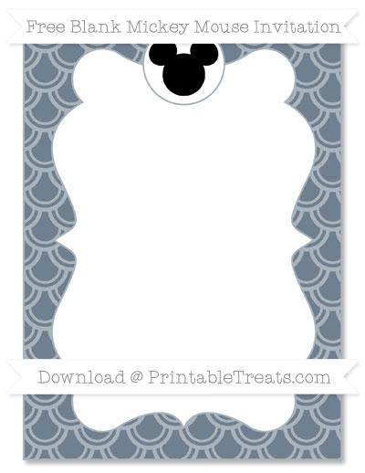 Free Slate Grey Fish Scale Pattern Blank Mickey Mouse Invitation