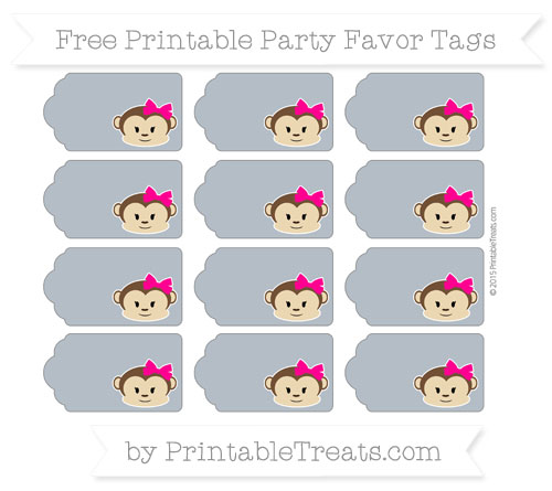 Free Slate Grey Girl Monkey Party Favor Tags