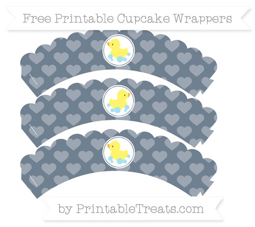 Free Slate Grey Heart Pattern Baby Duck Scalloped Cupcake Wrappers