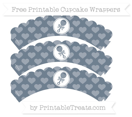 Free Slate Grey Heart Pattern Baby Rattle Scalloped Cupcake Wrappers