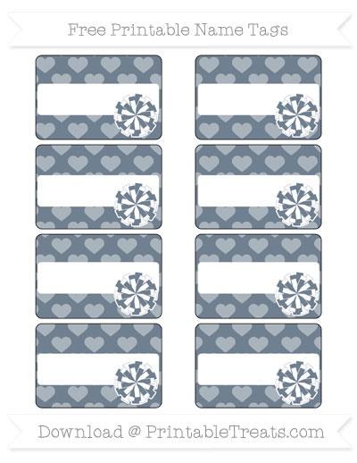 Free Slate Grey Heart Pattern Cheer Pom Pom Tags