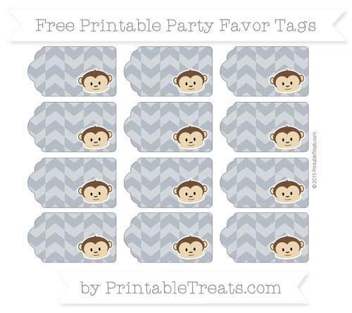 Free Slate Grey Herringbone Pattern Boy Monkey Party Favor Tags