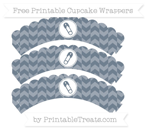 Free Slate Grey Herringbone Pattern Diaper Pin Scalloped Cupcake Wrappers