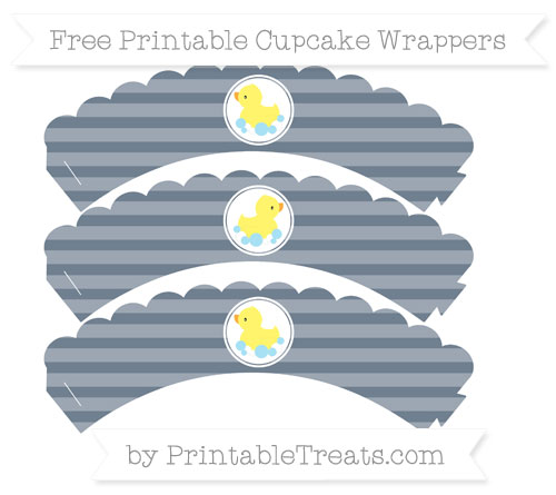 Free Slate Grey Horizontal Striped Baby Duck Scalloped Cupcake Wrappers